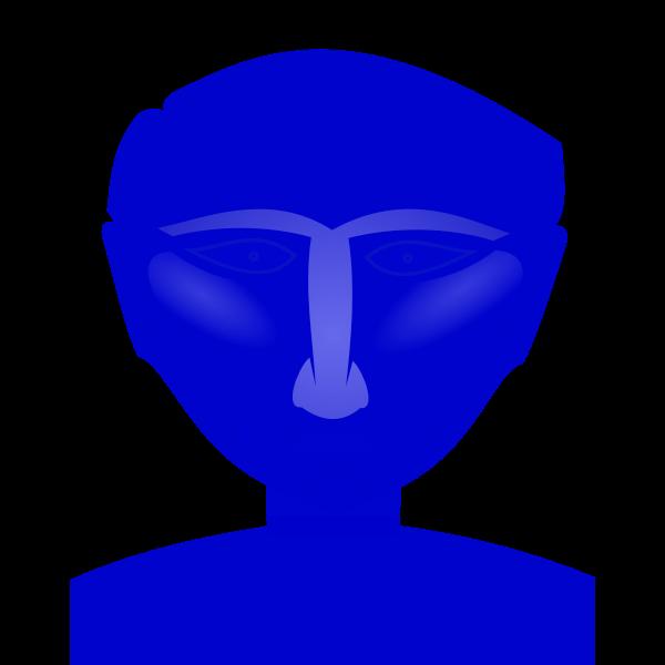 Blue male's head