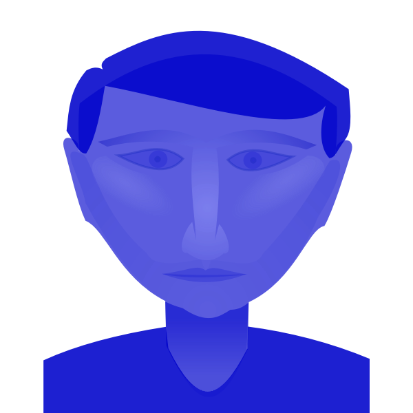 Blue male's head