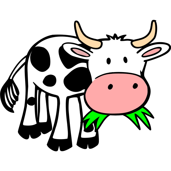 Comic cow eating grass vector image