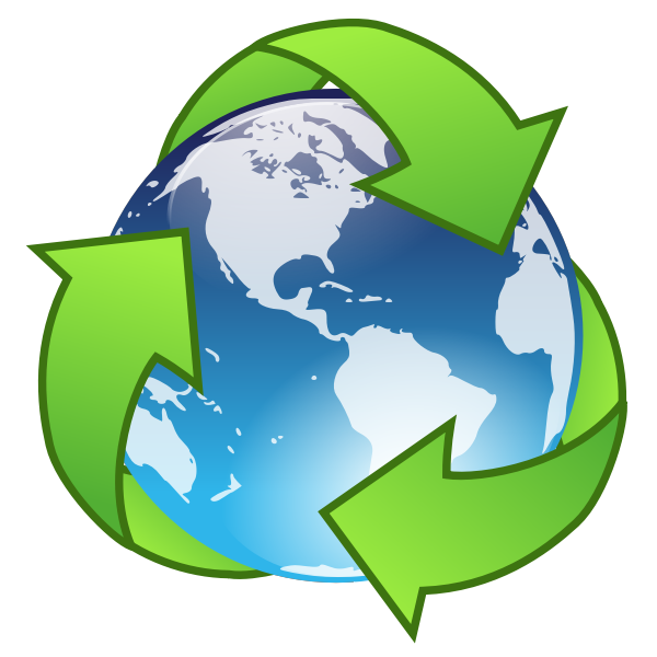 Vector drawing of crystal earth recycle symbol