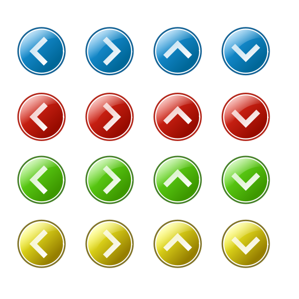 Arrow button set vector images