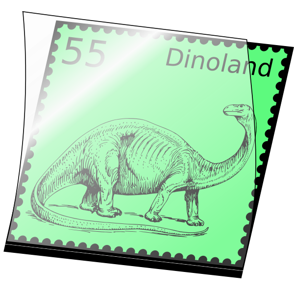 Vector clip art of postage stamp with dinosaur
