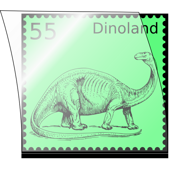 Vector illustration of dinosaur postal stamp in an opened stamp mount