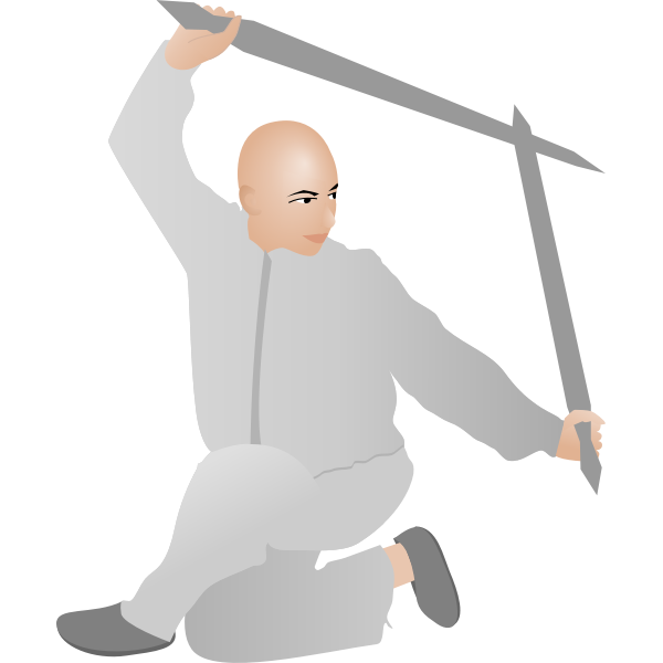 Vector drawing of kung fu man with two swords