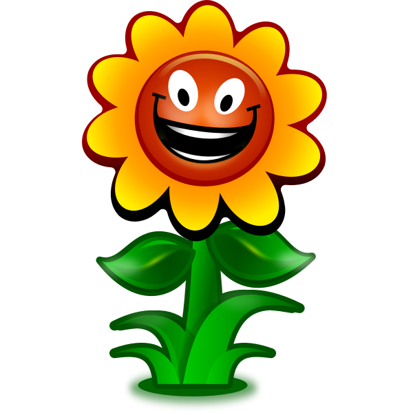 Vector image of game flower character smiling