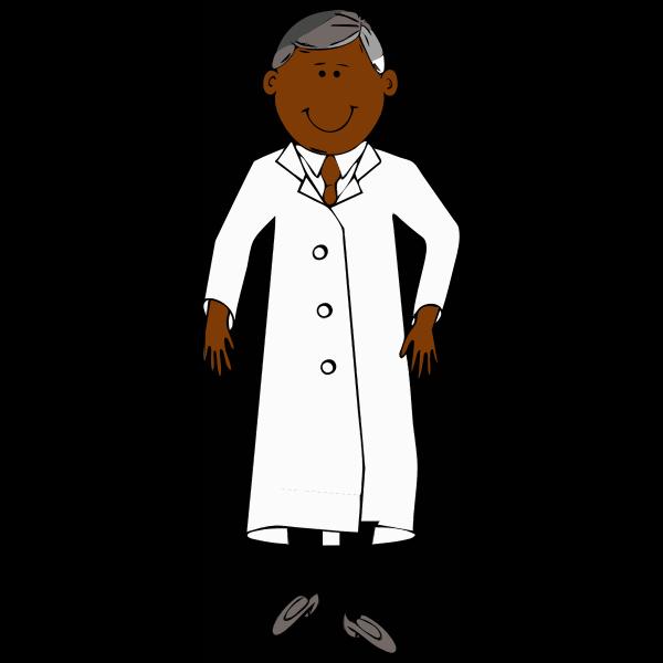 Scientist in white lab coat vector clip art