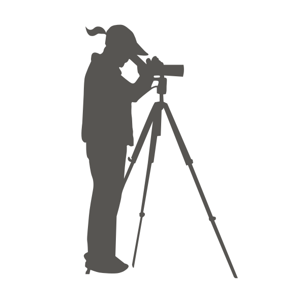 A woman looking through a spotting scope vector clip art