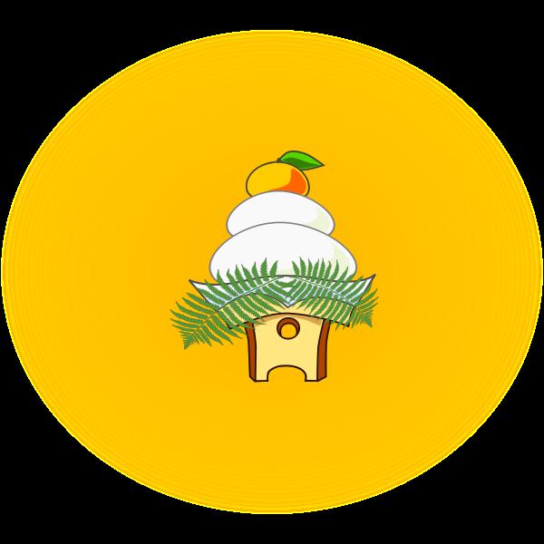 Kagami mochi rice cake vector illustration
