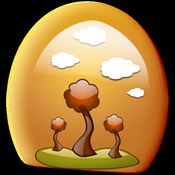 Fall landscape in egg-shaped frame vector image