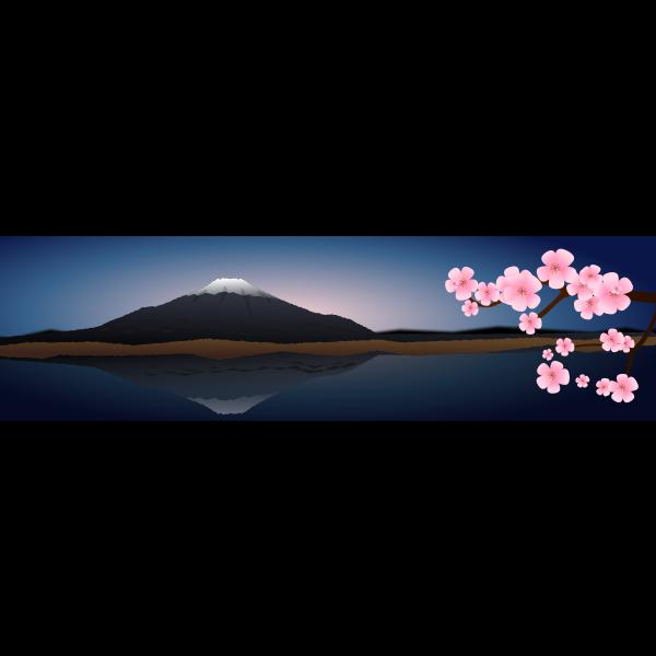 Japan evening landscape vector image