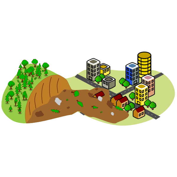 Landslide near the city