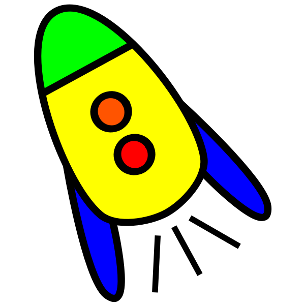 Baby cartoon rocket vector clip art