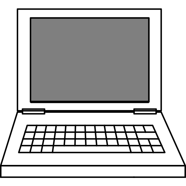 Line art vector image of laptop