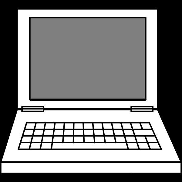 Line art vector image of laptop