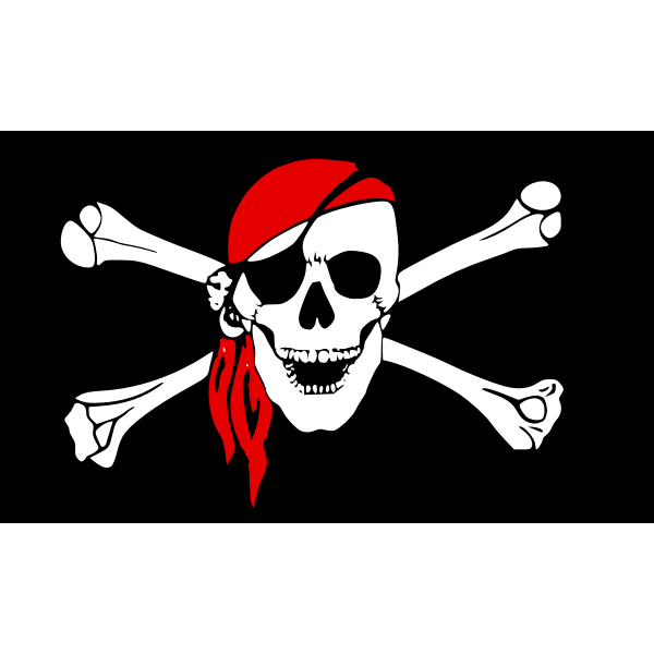 Vector graphics of black pirate flag with smiling skull and bones