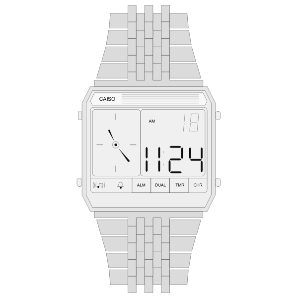 Digital watch with metal strap vector image