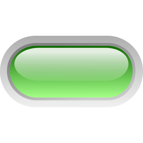 Pill shaped green button vector illustration