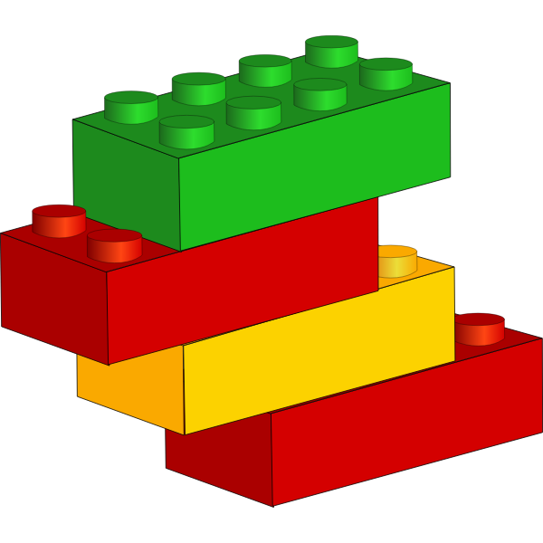 Vector drawing of stackable plastic blocks