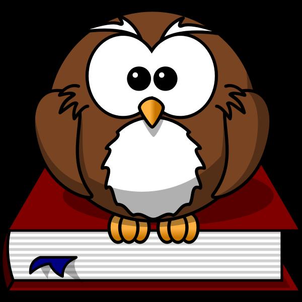 Cartoon owl sitting on a book
