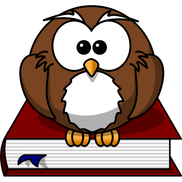 Cartoon owl sitting on a book