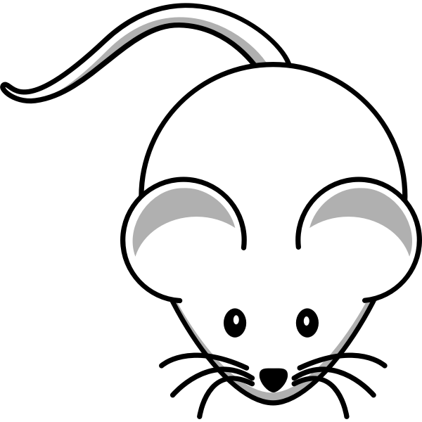 Vector clip art of cartoon white mouse with long mustache