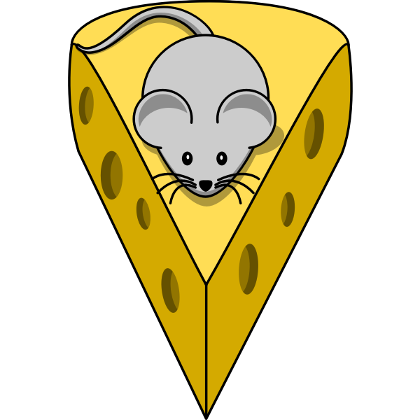 Vector illustration of mouse on a cheese
