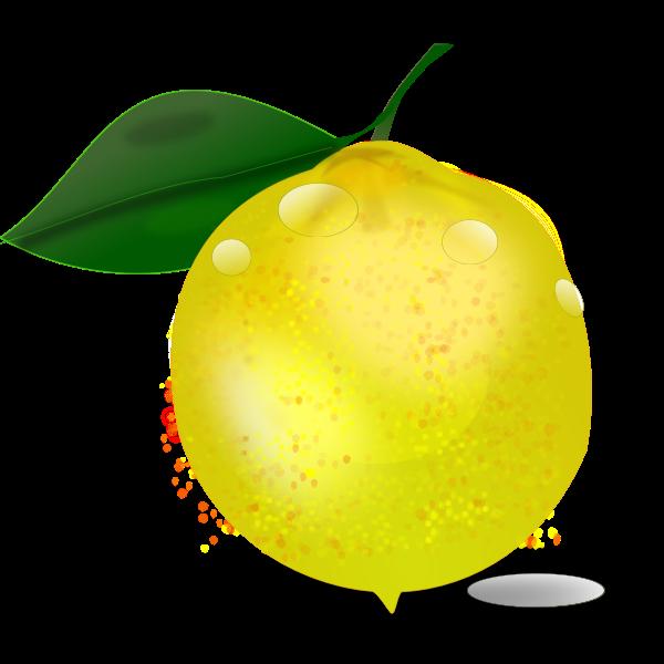 Photorealistic lemon with a leaf vector illustration