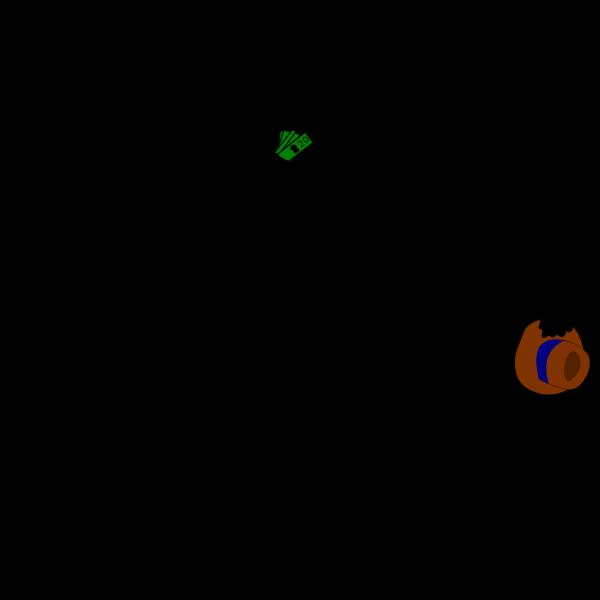 Lending money vector silhouette