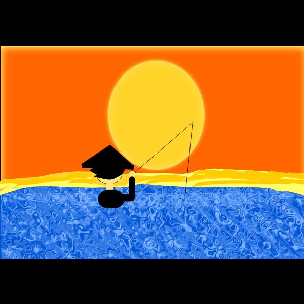 Fishing under sunset vector image