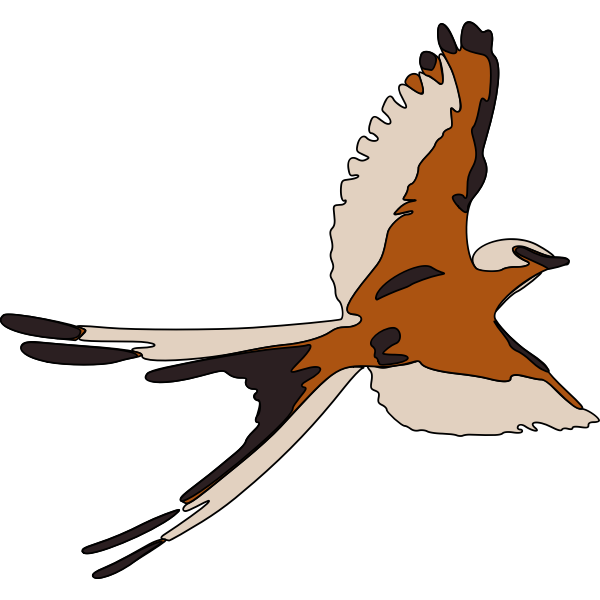 Colored clip art of flying bird