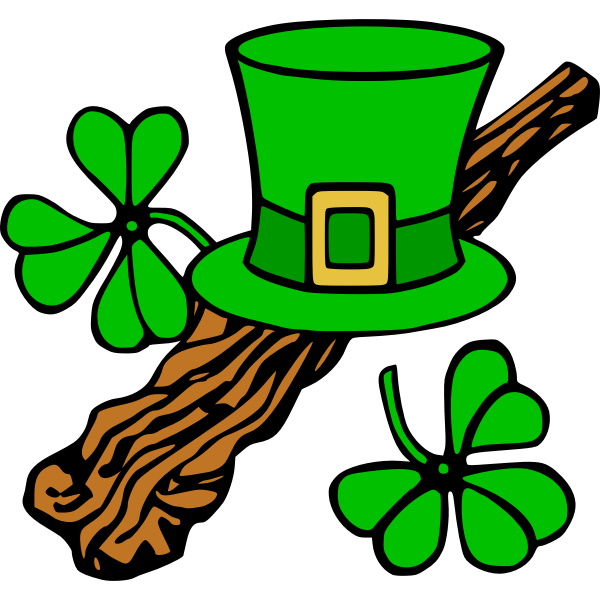 Hat and shillelagh (colour)