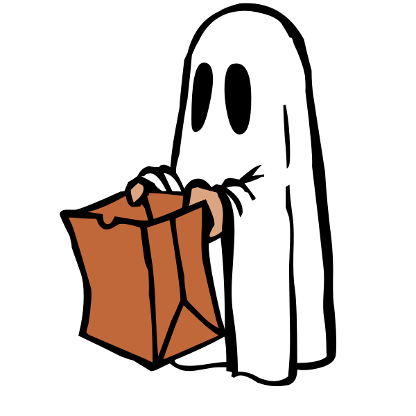 Ghost with brown bag vector image
