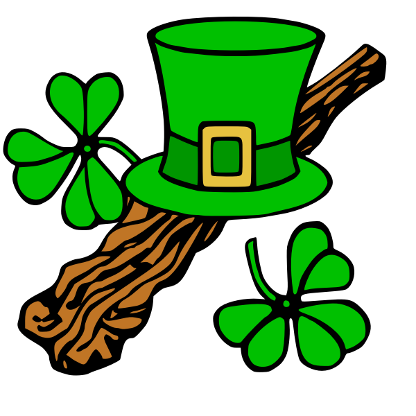 Hat and shillelagh color vector image