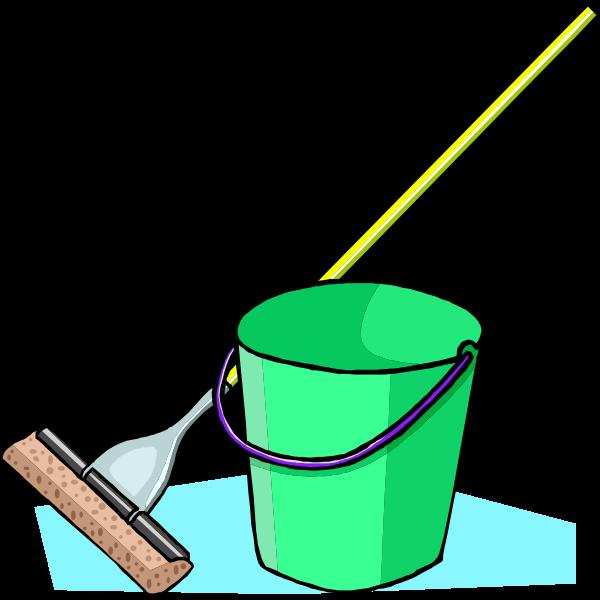 Mop and bucket vector graphics