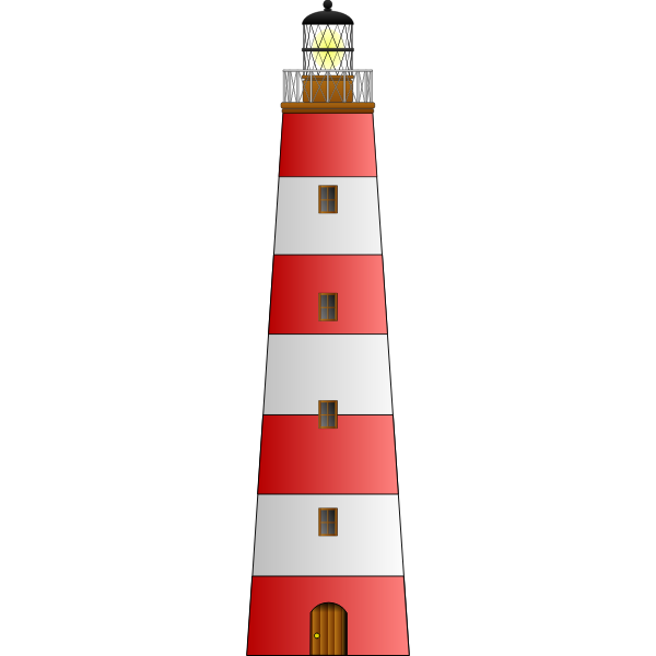Image of red and white lighthouse building