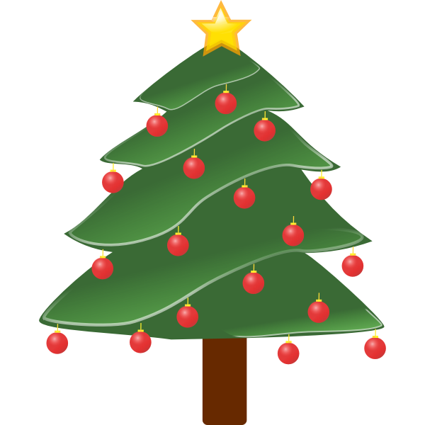 Decorated evergreen vector drawing