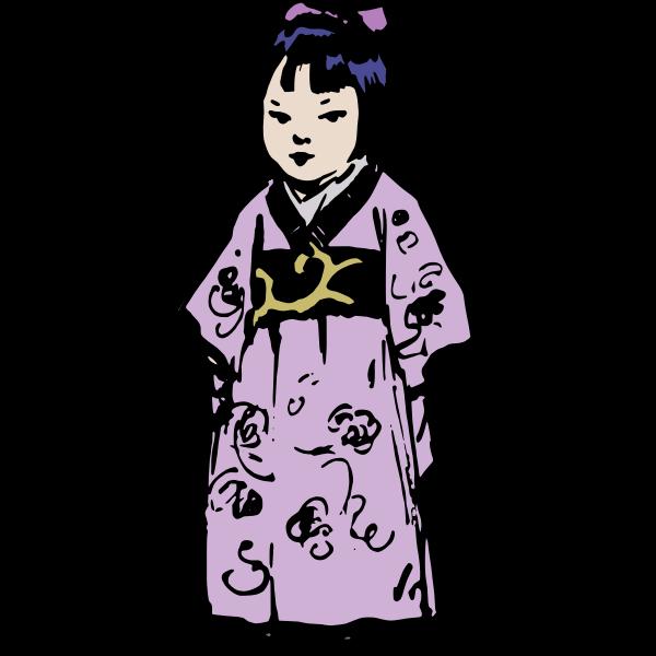 Little girl wearing kimono