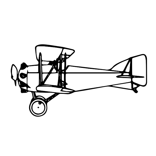 Biplane outline colorless