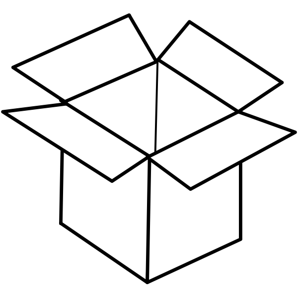 Vector line art image of open cardboard box