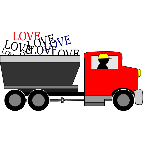 Vector image of love delivery truck