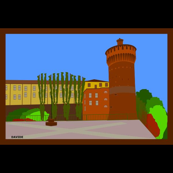 Torrione di Lodi town vector postcard