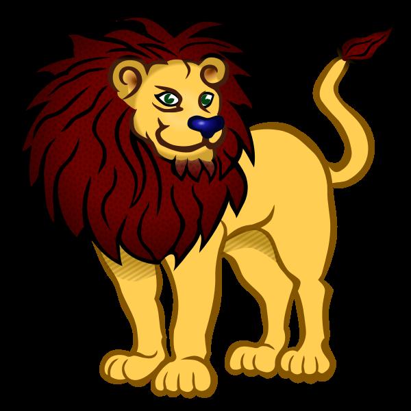 Golden lion cartoon character vector image
