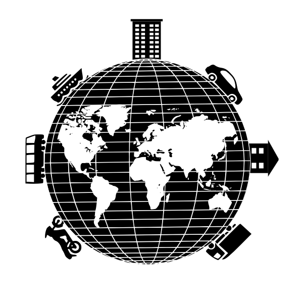 Globe transportation systems vector illustration