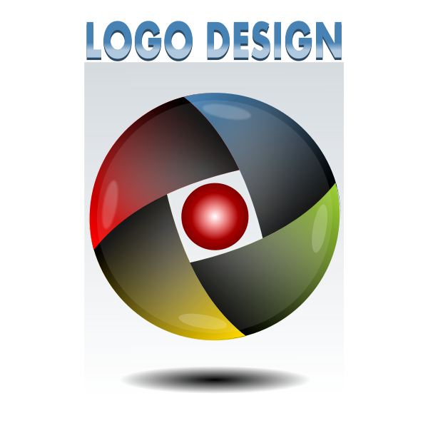 Vector image of red, yellow, green and blue round logo idea