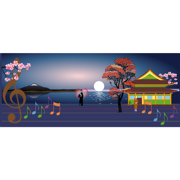 Japan scenery vector image