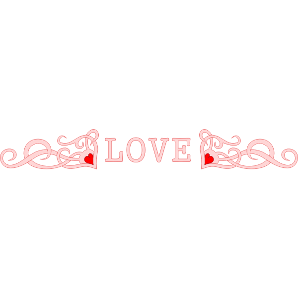 Vector illustration of red hearts and word LOVE