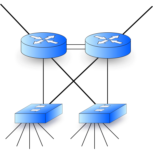 Vector graphics of network diagram with two routers and two switches