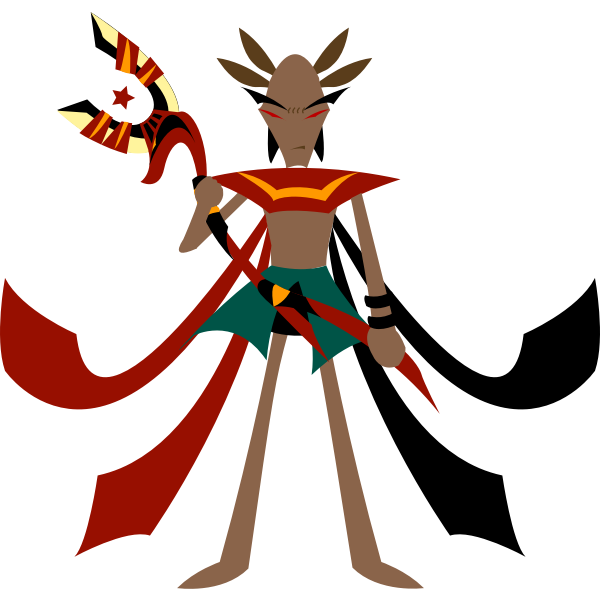 Cartoon mage with anubis staff