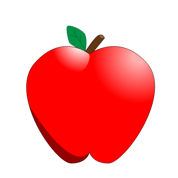 Cartoon red apple vector clip art