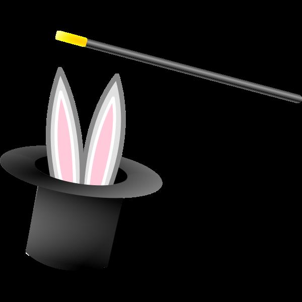 Magic hat and wand vector graphics